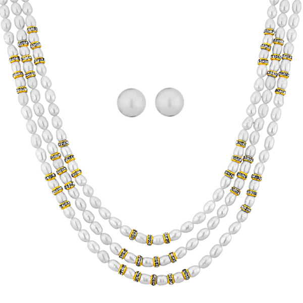 Jpearls Ziva 3 Line Necklace Set