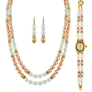 Pearl Sets-Jpearls 2 Line Necklace Set With Watch: