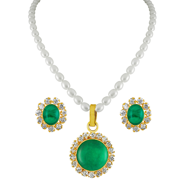 Jpearls Green Drop Pearl Pendant Set