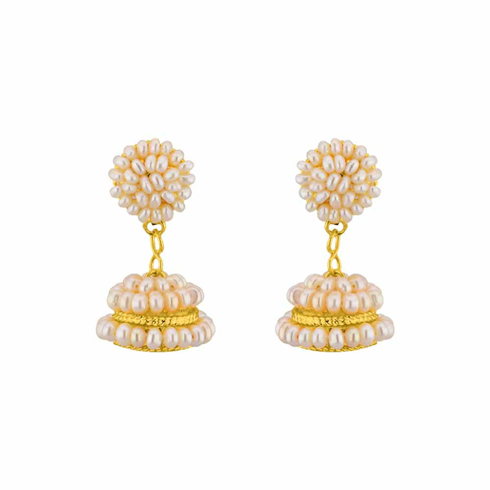 Pearl Earrings-Jpearls Magnificent Pearl Jhumkis
