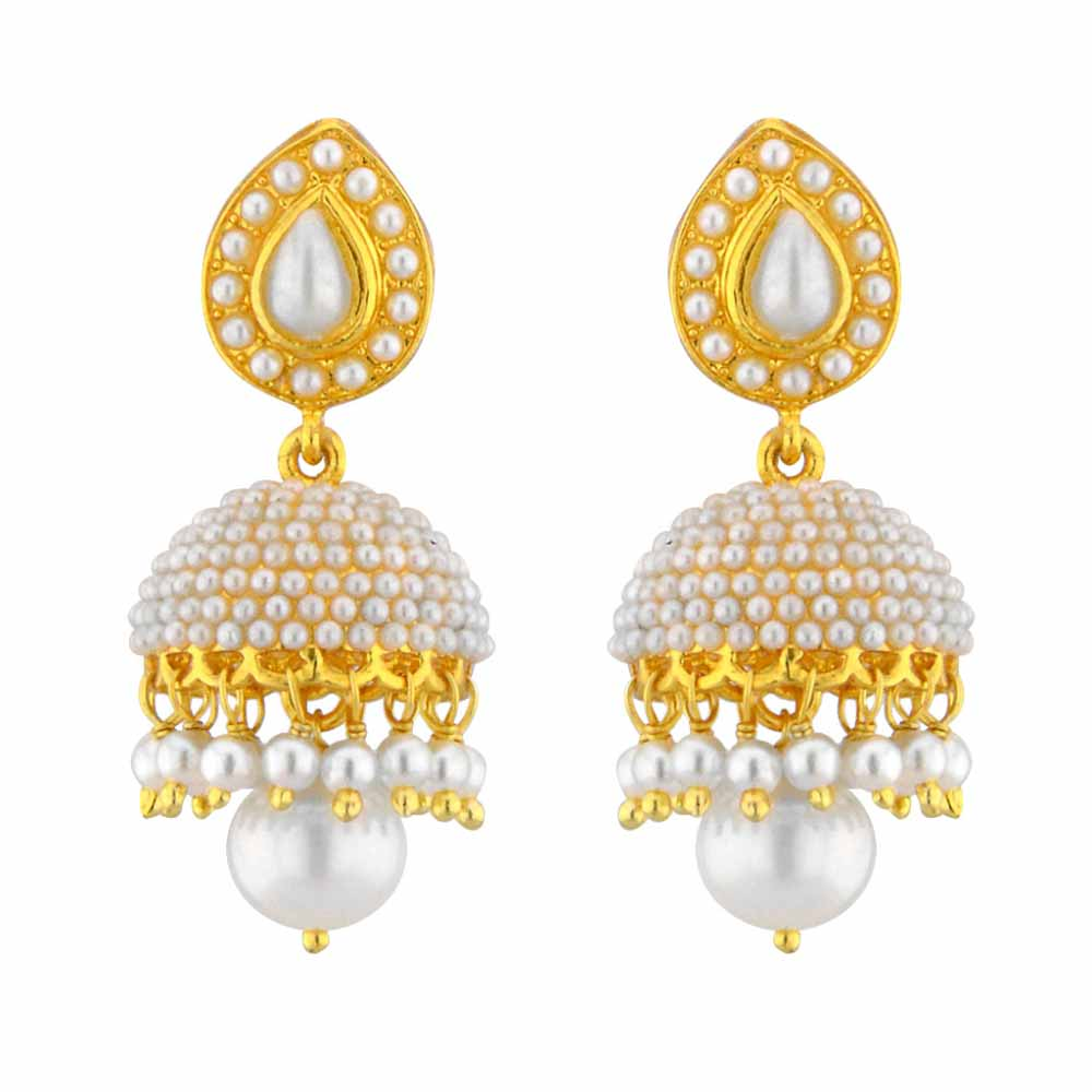 Pearl Earrings-Jpearls Ethnic Pearl Jhumkis