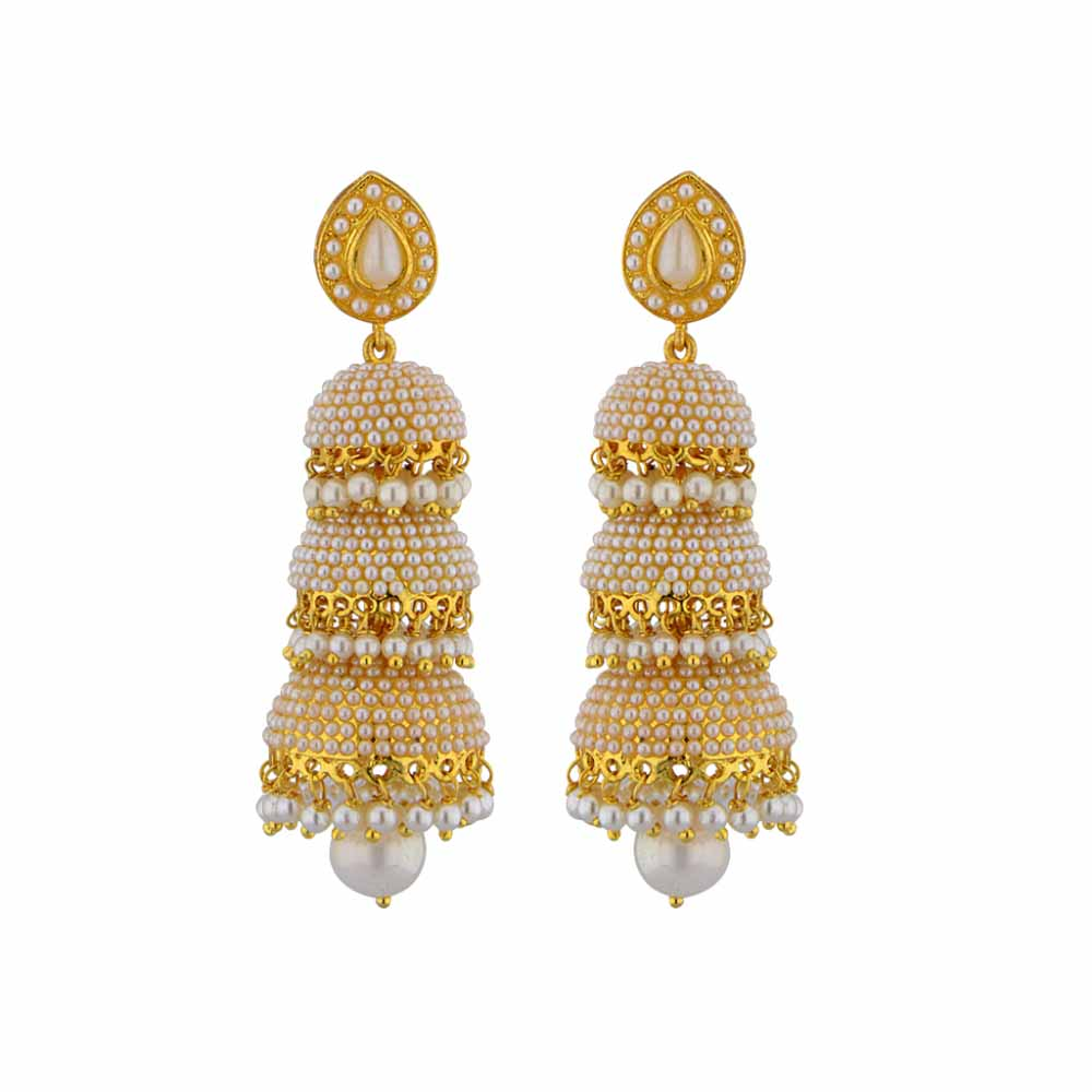 Pearl Earrings-Jpearls Traditional Pearl Jhumkis
