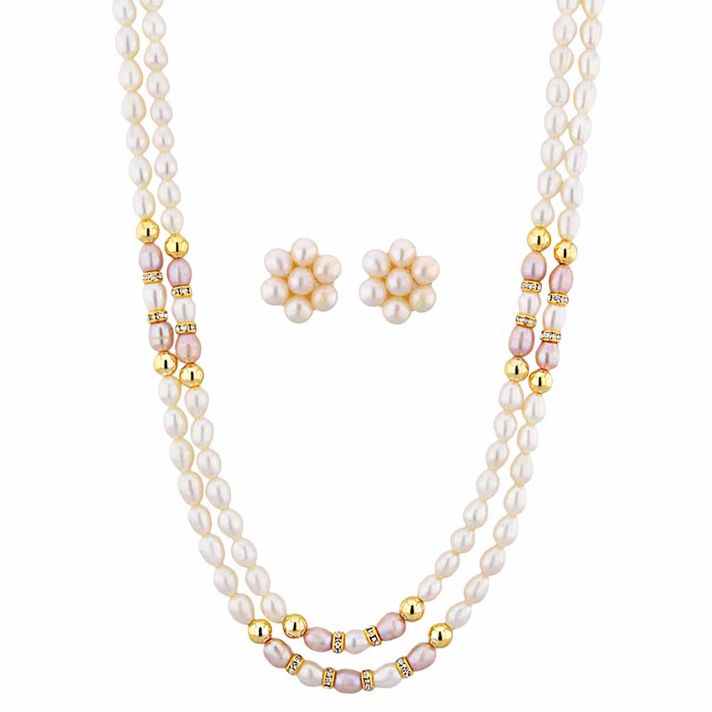 Jagdamba Pearls 2 line Pearl Necklace Set