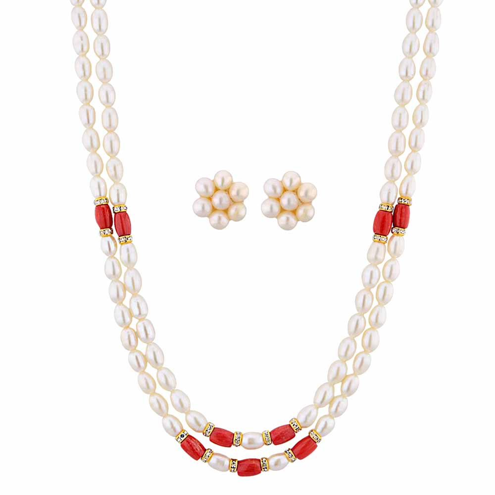 Jagdamba Pearls modern Pearl Necklace Set