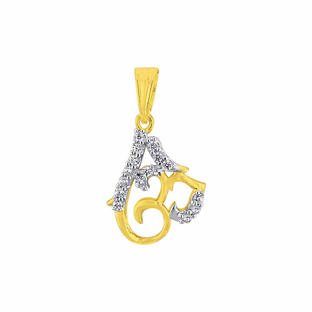 Diamond Pendants-Sri Jagdamba Pearls Om Diamond Pendant