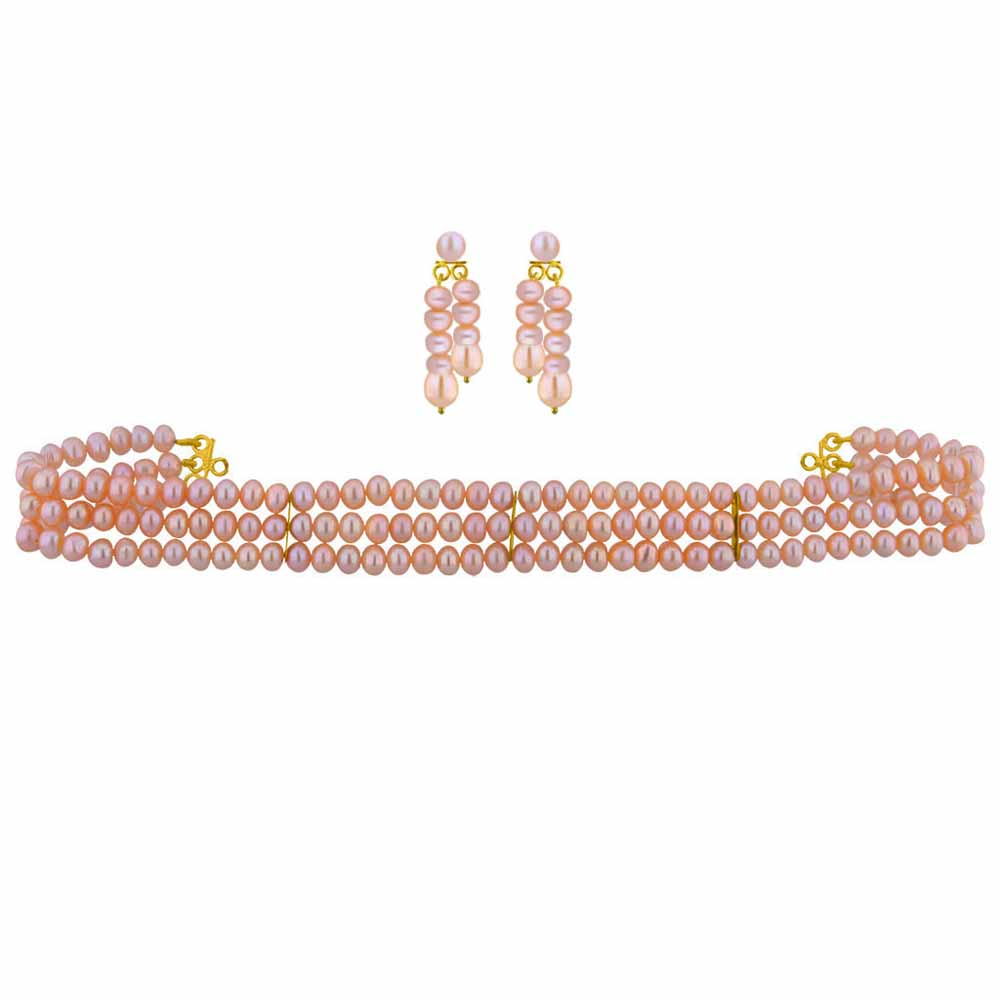 3 String Pearl Choker Set