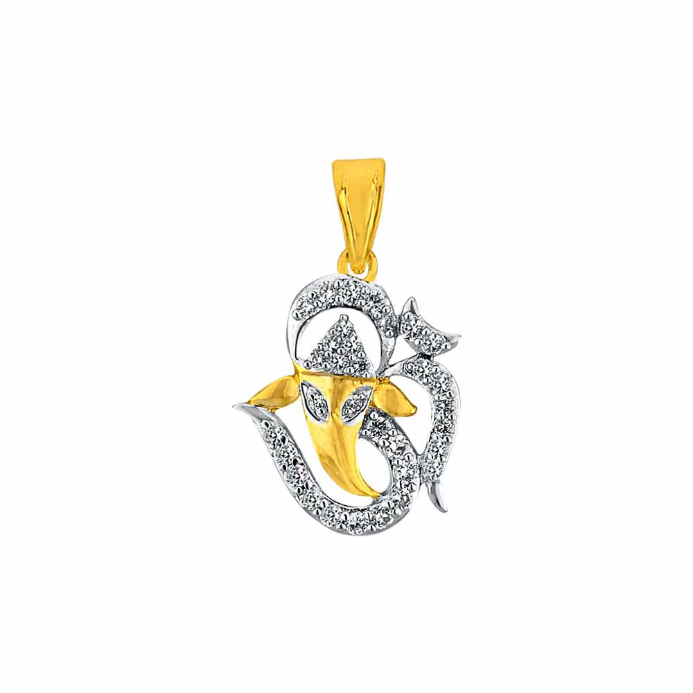 Diamond Pendants-Sri Jagdamba Pearls Om Ganesha Diamond Pendant