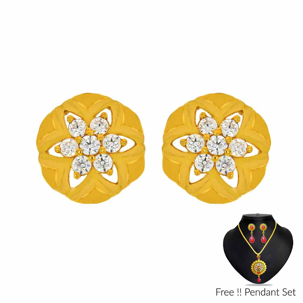 Gold Earrings-22Kt (916) Star Gold Earrings