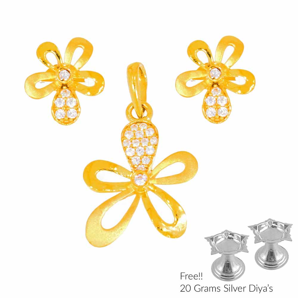 Gold Pendants-Flower Shape 22Kt Gold Pendant Set