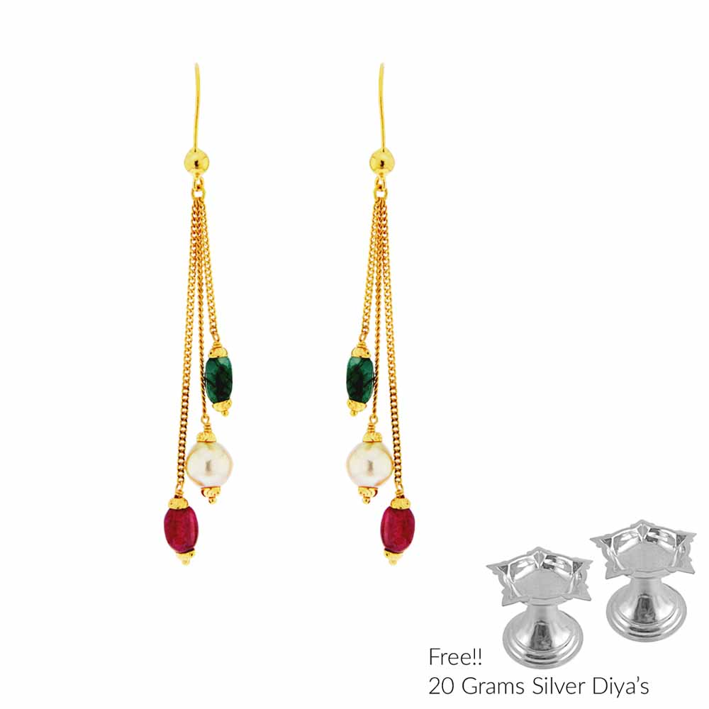 Gold Earrings-Enhancing 22Kt Gold Hangings