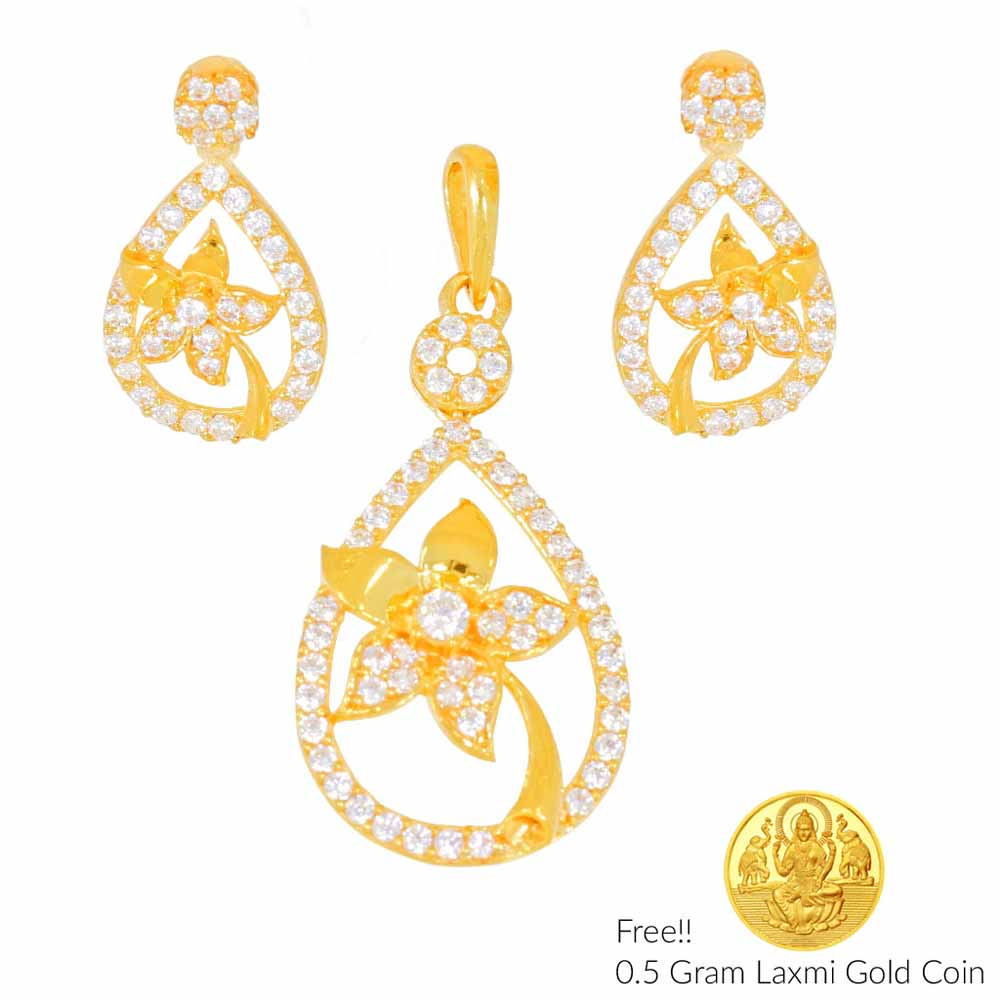 Gold Pendants-Newly Wed 22Kt Gold Pendant Set
