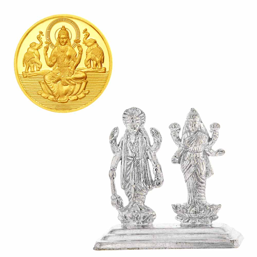 Laxmi Narayran Idol With Gold Coin