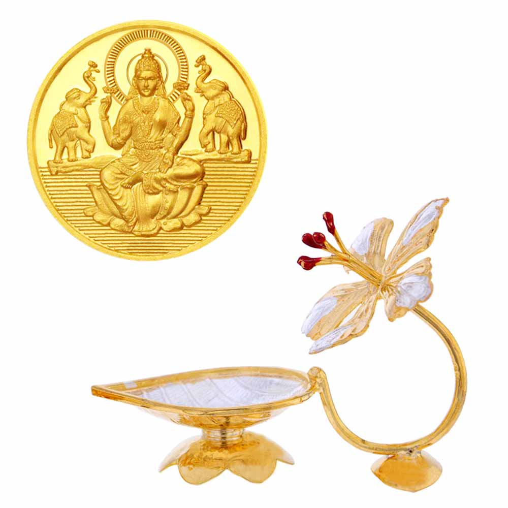 Laxmi Gold Coin With Silver Flower Diya
