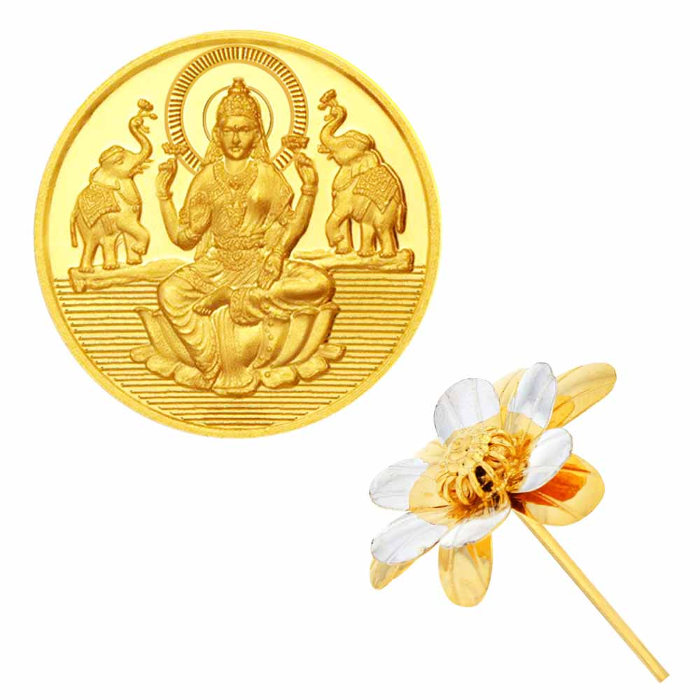 Laxmi Gold Coin With Silver Flower