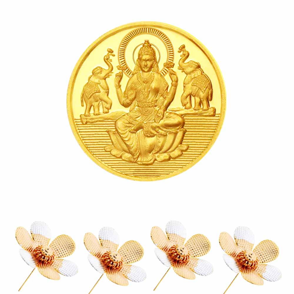 Gold-Laxmi Gold Coin With Silver Flowers