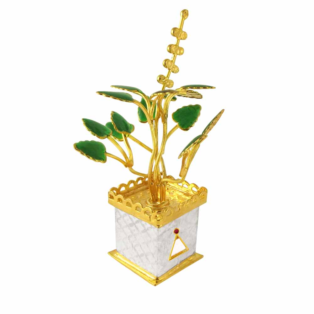 Spiritual Accessories-Golden Tulsi Silver Plant