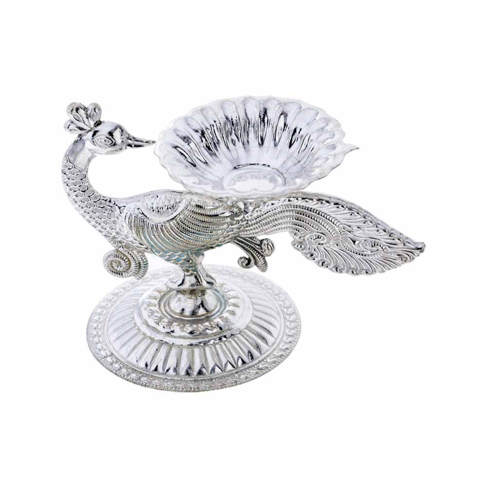 Gift Silver Peacock Diya on Diwali