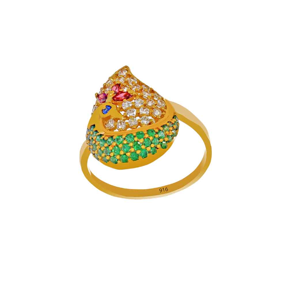 Gold-22kt Gold Colorful Finger Ring
