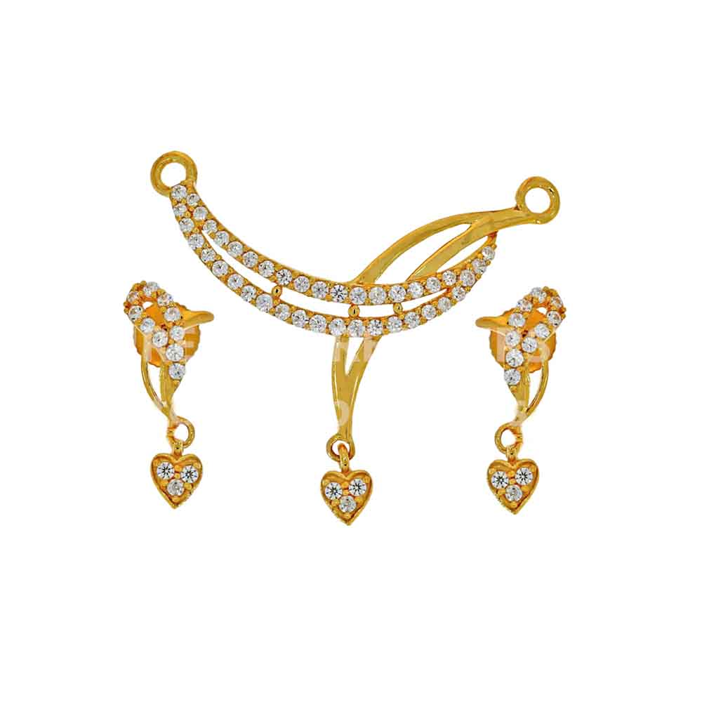Gold Pendants-22kt Prisha Pendant Set