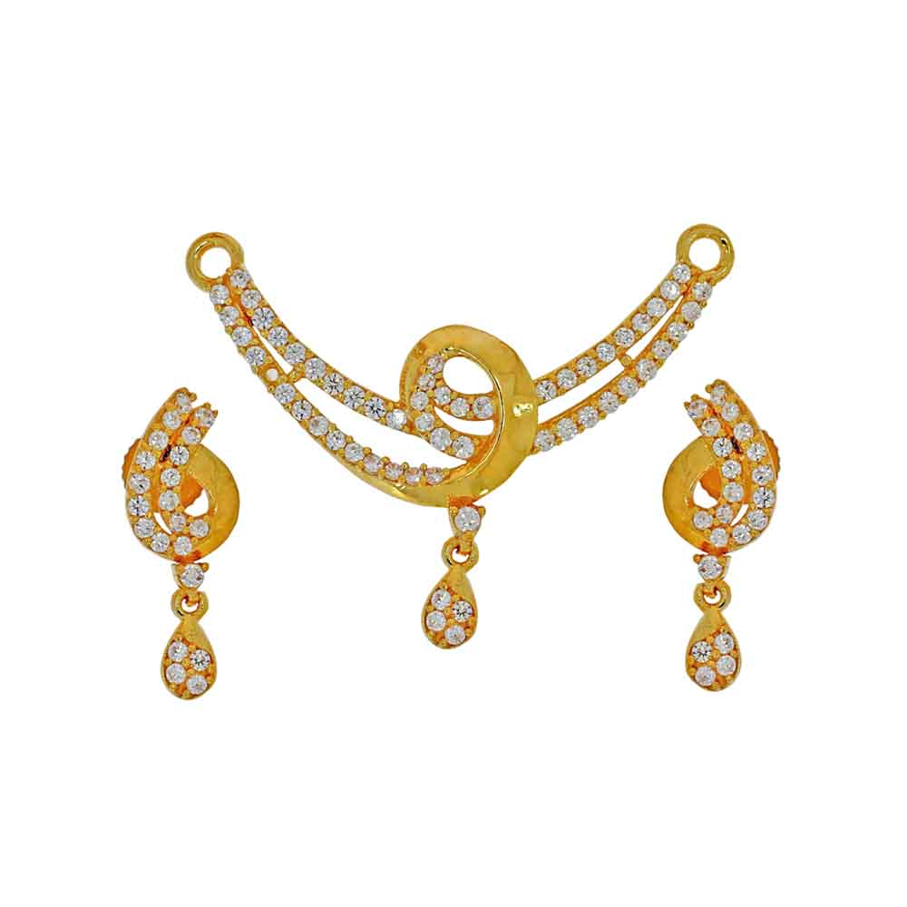 Gold Pendants-22kt Advika Pendant Set
