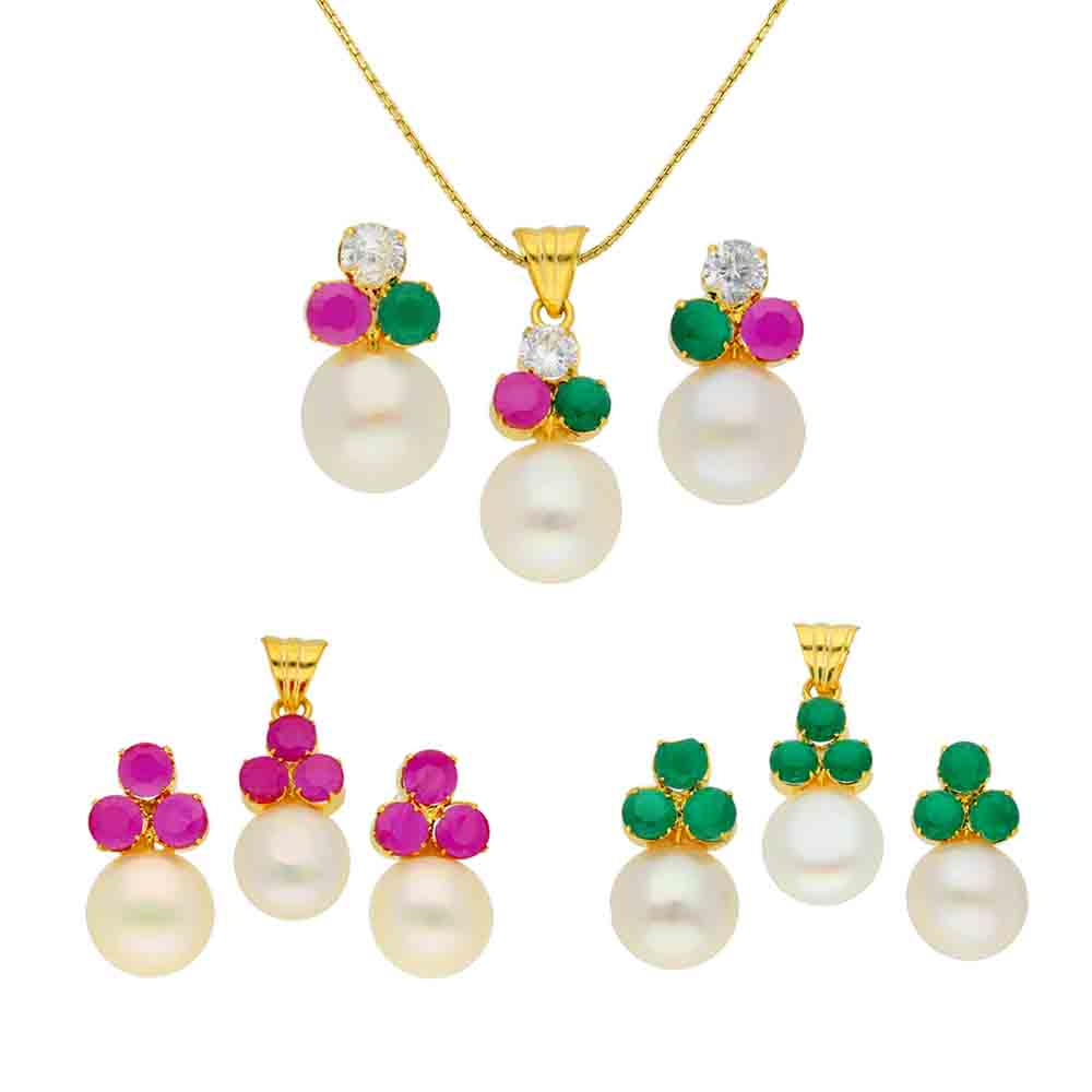 Pearl Pendants-Romantic Pendant Set