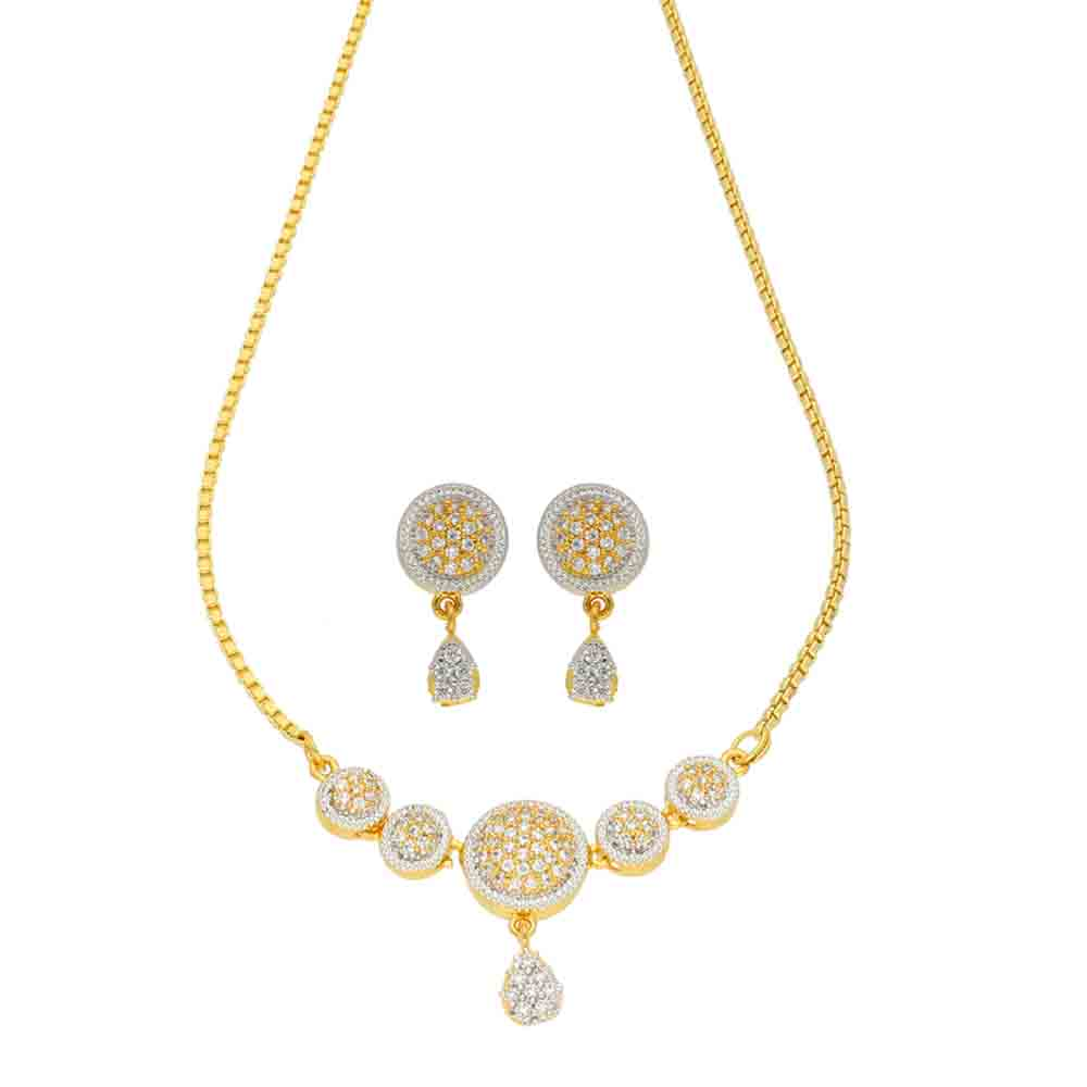 Pearl Necklaces-Engaged Gold CZ Necklace