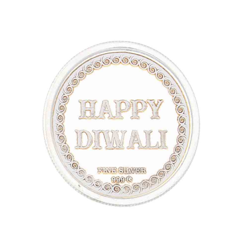 Happy Diwali Silver coin