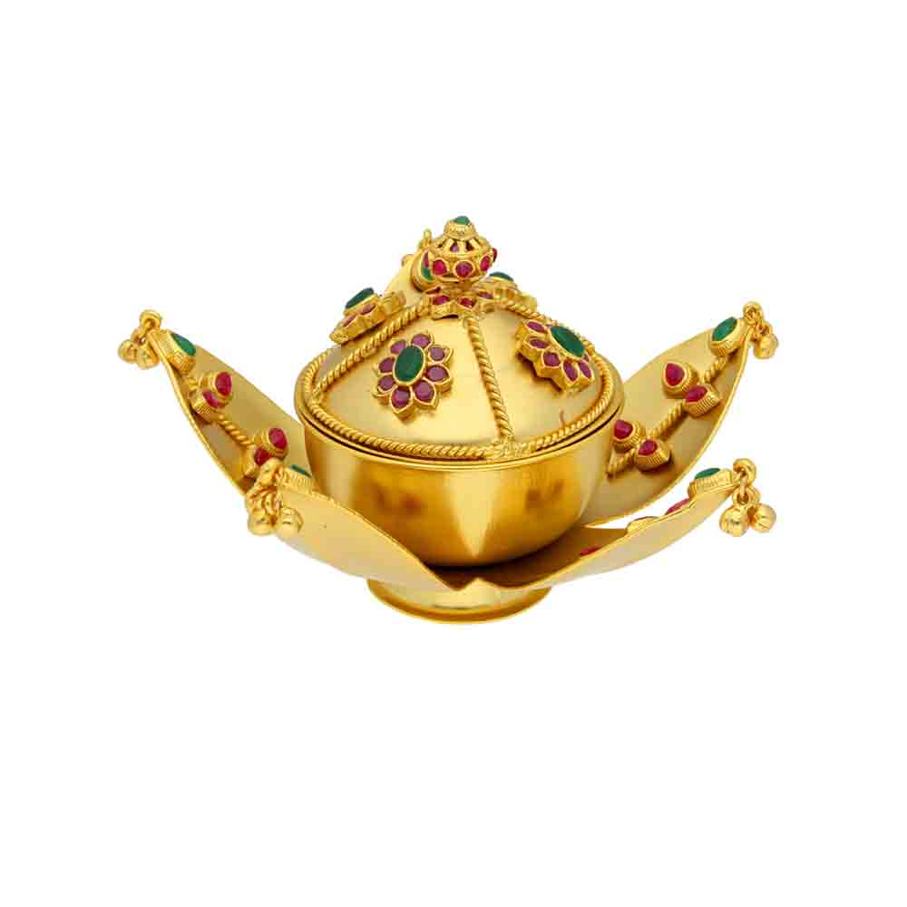 Golden Leaf Kumkum Box