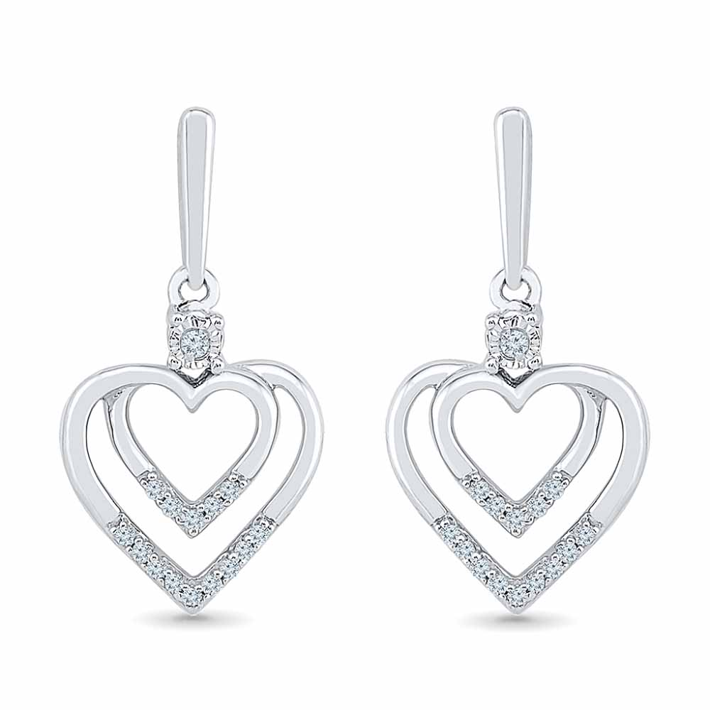 0.16 Carat Heart In Heart Diamond Earrings