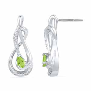 Diamond Earrings-Peridot Diamond Earrings