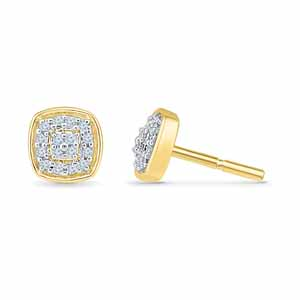 Diamond Earrings-18 Kt Gold Insignia Diamond Earrings