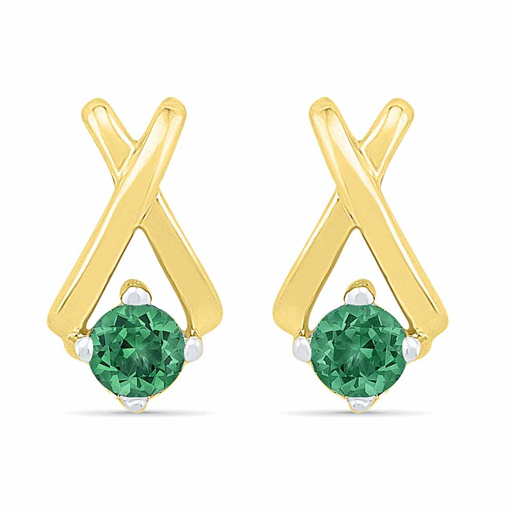 Diamond Earrings-Round Emerald Earrings