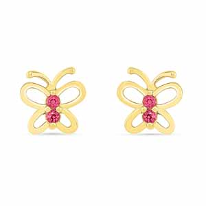 Diamond Earrings-Butterfly Ruby Earrings