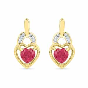 Diamond Earrings-Dashing Heart Diamond Earrings