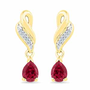 Diamond Earrings-Valentines Special Ruby & Diamond Earrings