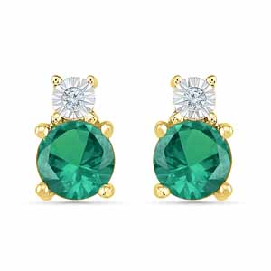 Diamond Earrings-Lovely Emerald Earrings