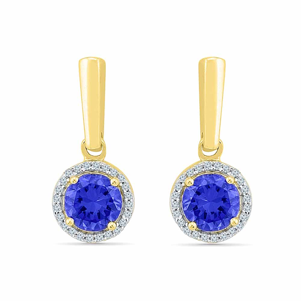 Blue Sapphire With Diamond Earrings