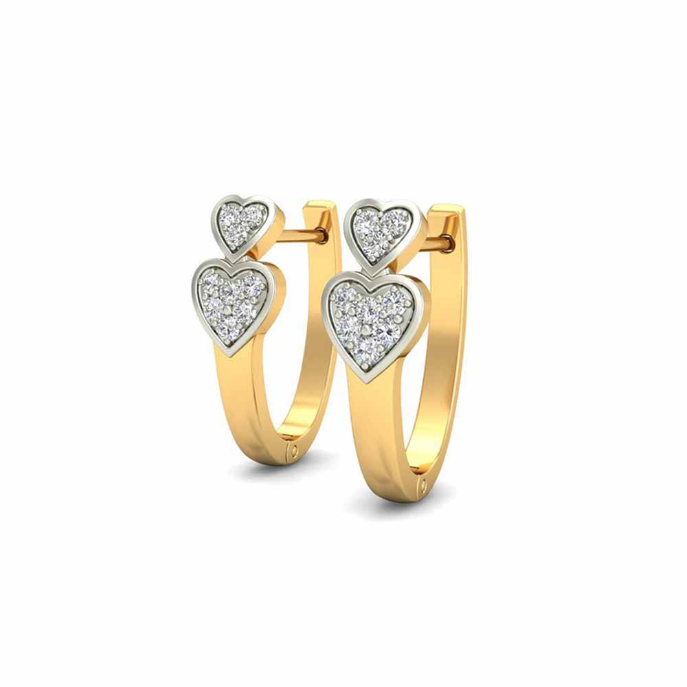 Diamond Earrings-Dual Heart Diamond Earrings