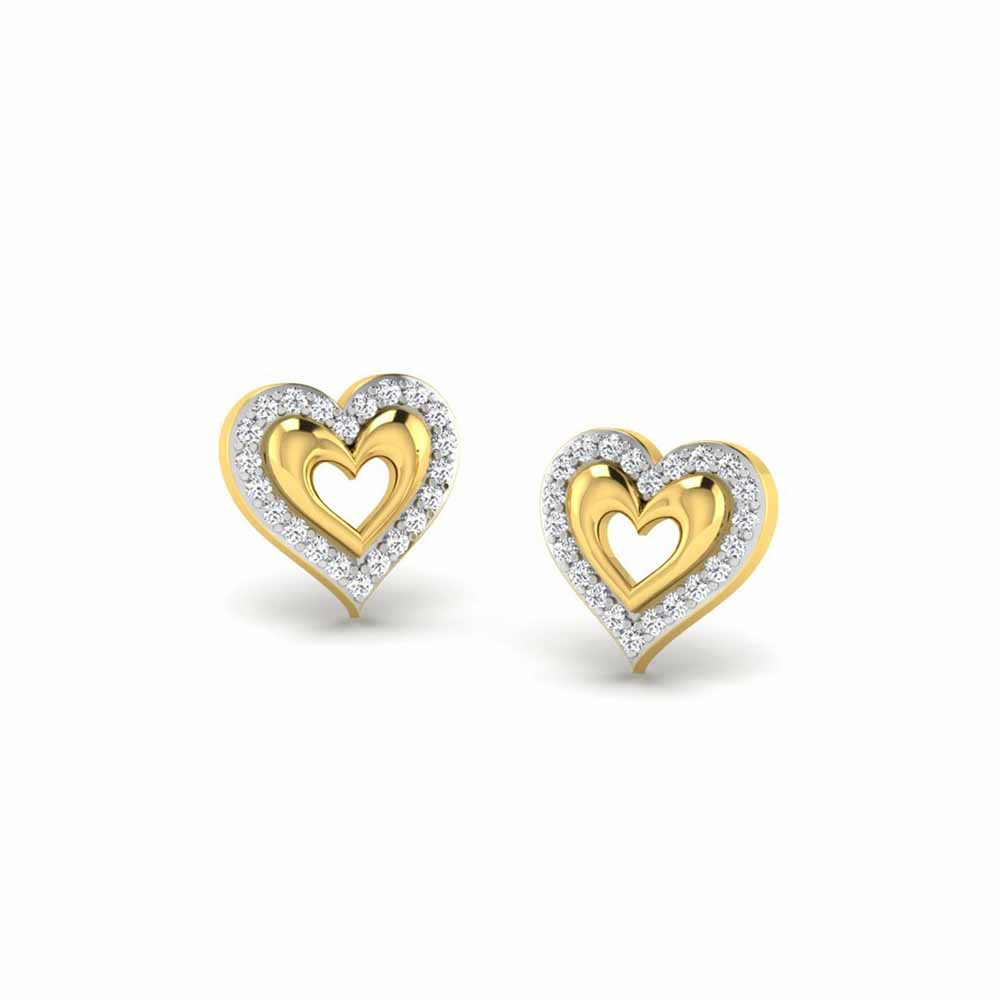 Diamond Earrings-Heart In Heart Diamond Earrings