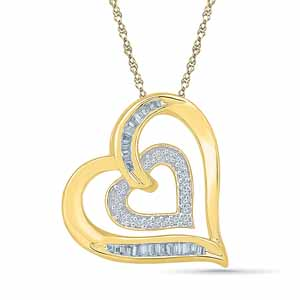 Diamond Pendants-Goldie Heart Diamond Pendant