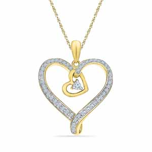 Diamond Pendants-Heart In Heart Diamond Pendant