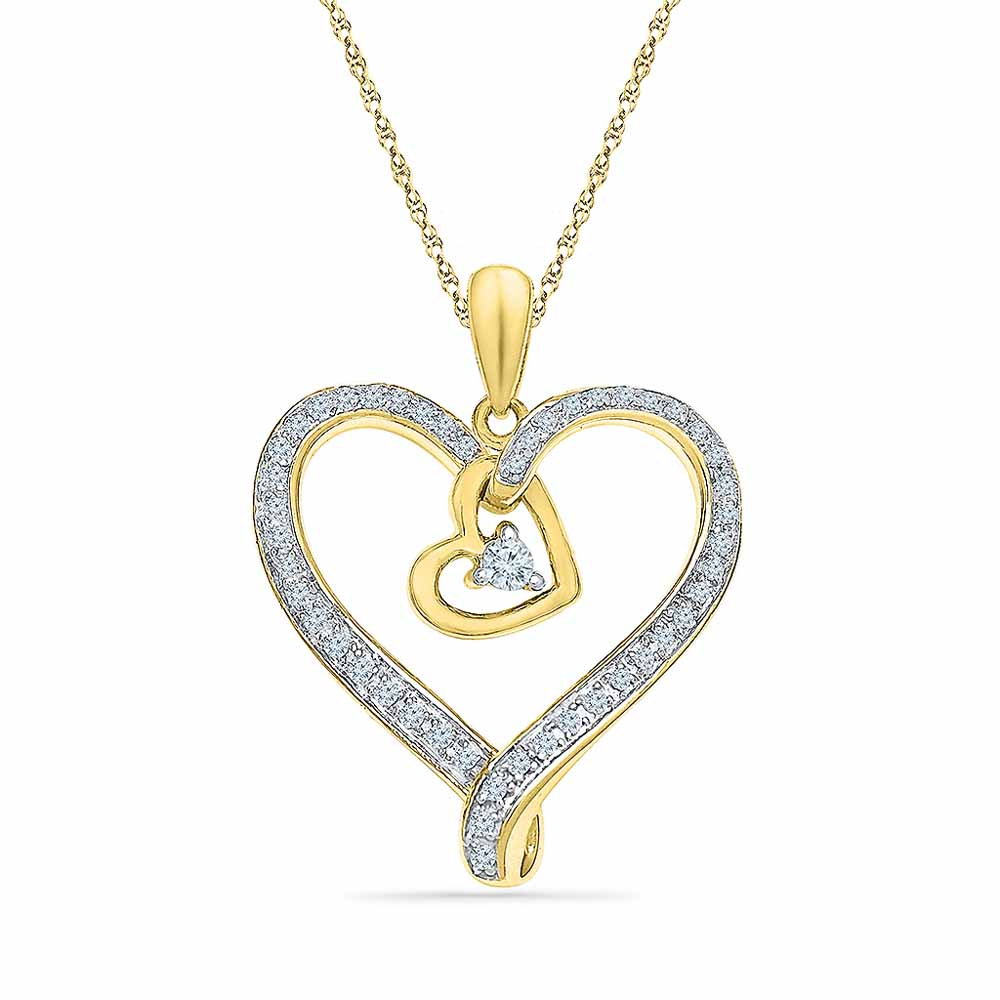 Heart In Heart Diamond Pendant
