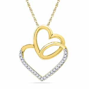 Diamond Pendants-18 Kt Gold Day Special Heart In Heart Diamond Pendant