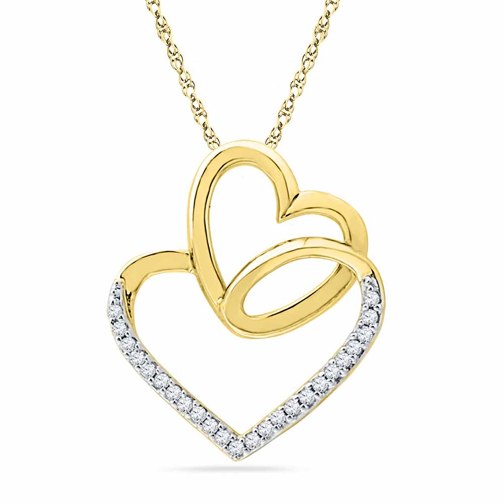 18 Kt Gold Day Special Heart In Heart Diamond Pendant