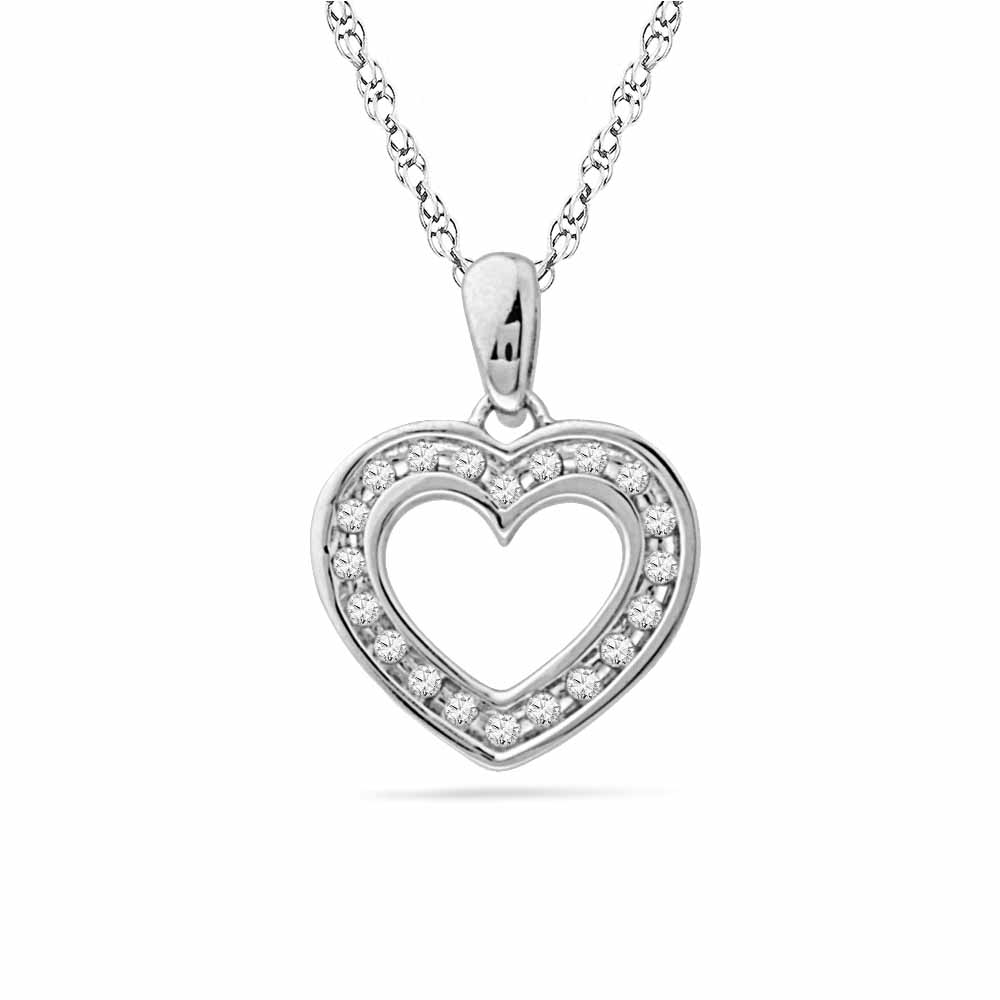 925 Sterling Silver Shiny Heart Diamond Pendant