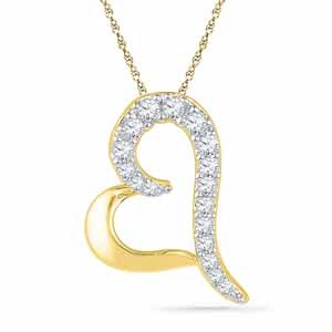 Diamond Pendants-18 Kt Gold Amazing Heart Diamond Pendant