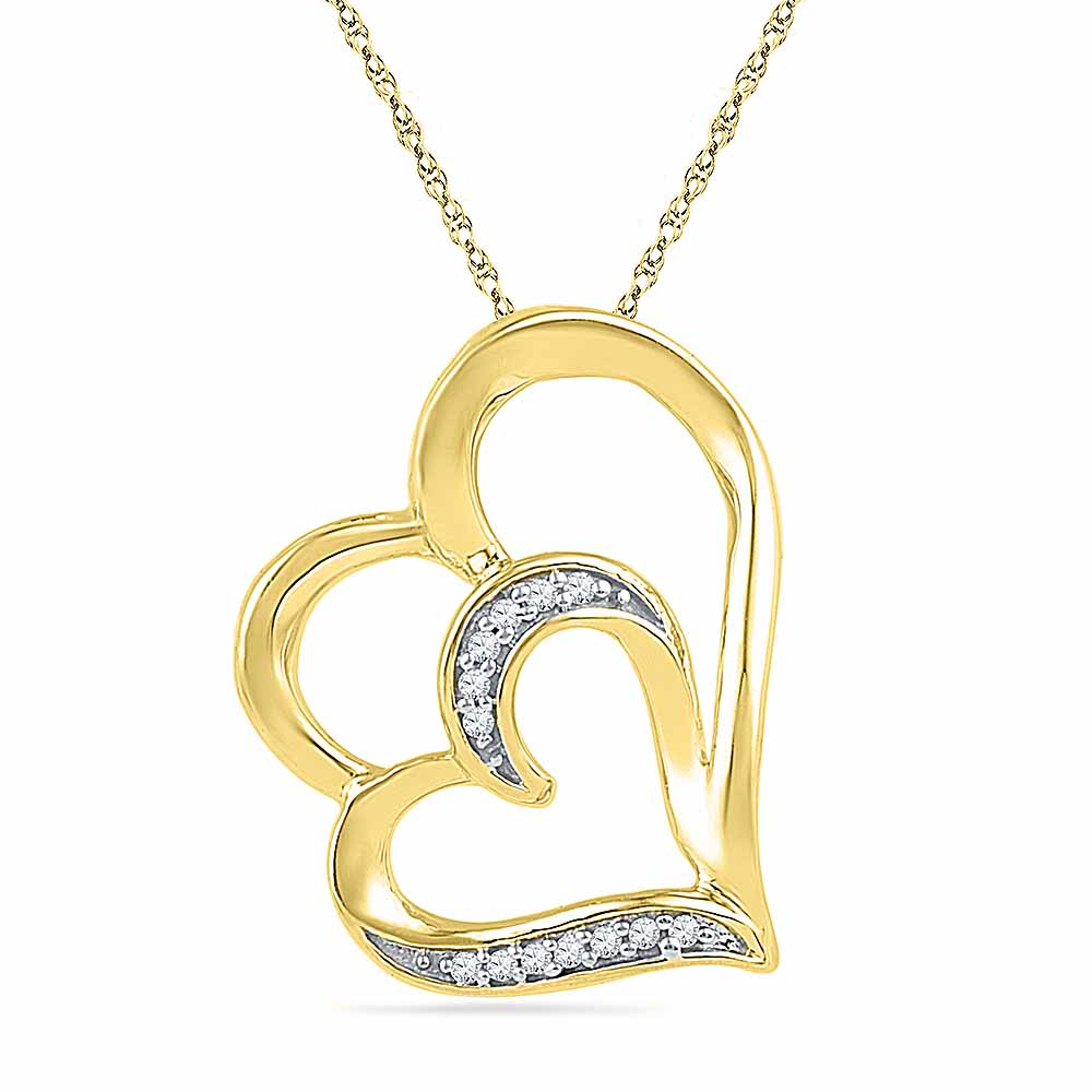18 Kt Gold Luscious Hearts Diamond Pendant