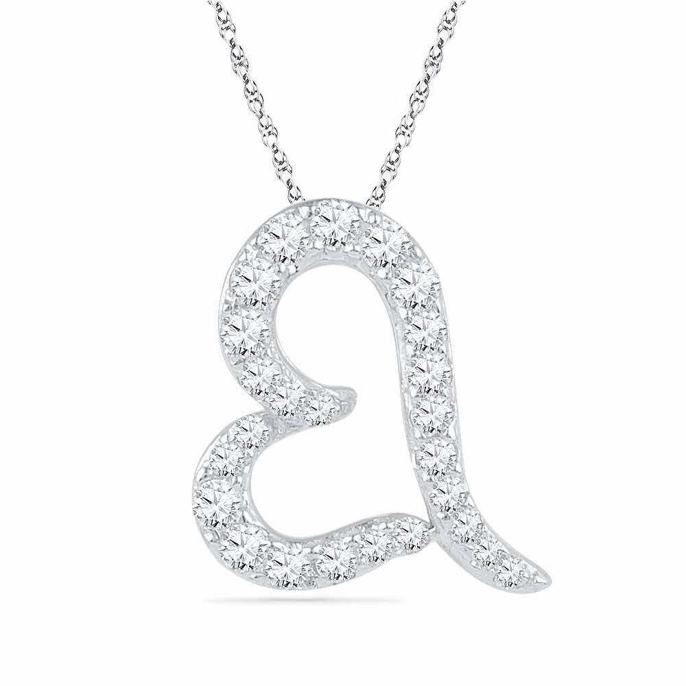 18 Kt Gold Shining Heart Diamond Pendant