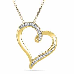 Diamond Pendants-18 Kt Gold Starry Heart Diamond Pendant