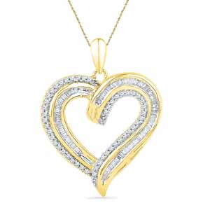 Diamond Pendants-18 Kt Gold Glittery Heart Diamond Pendant